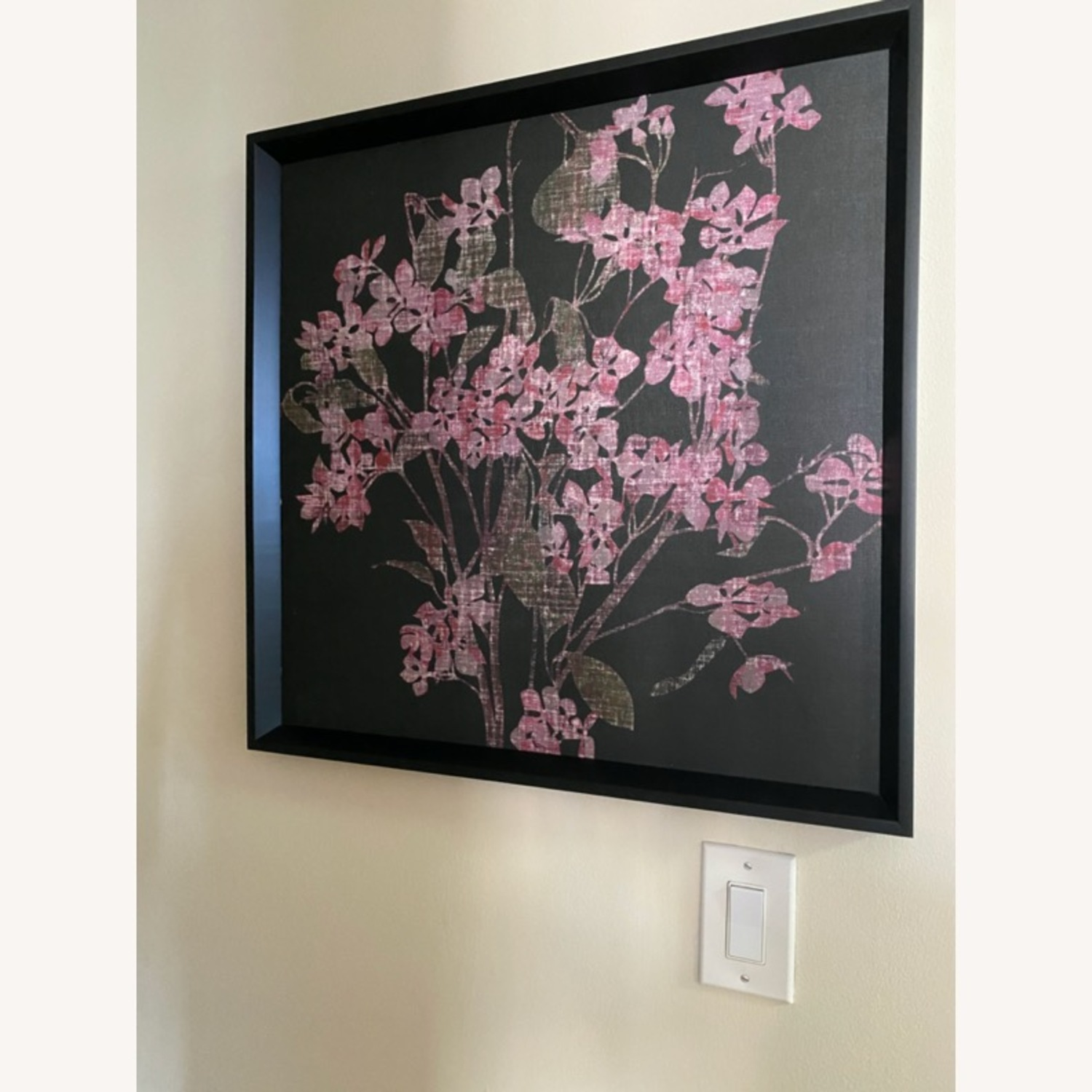 Pink & Black Floral Canvas Wall Art - image-1