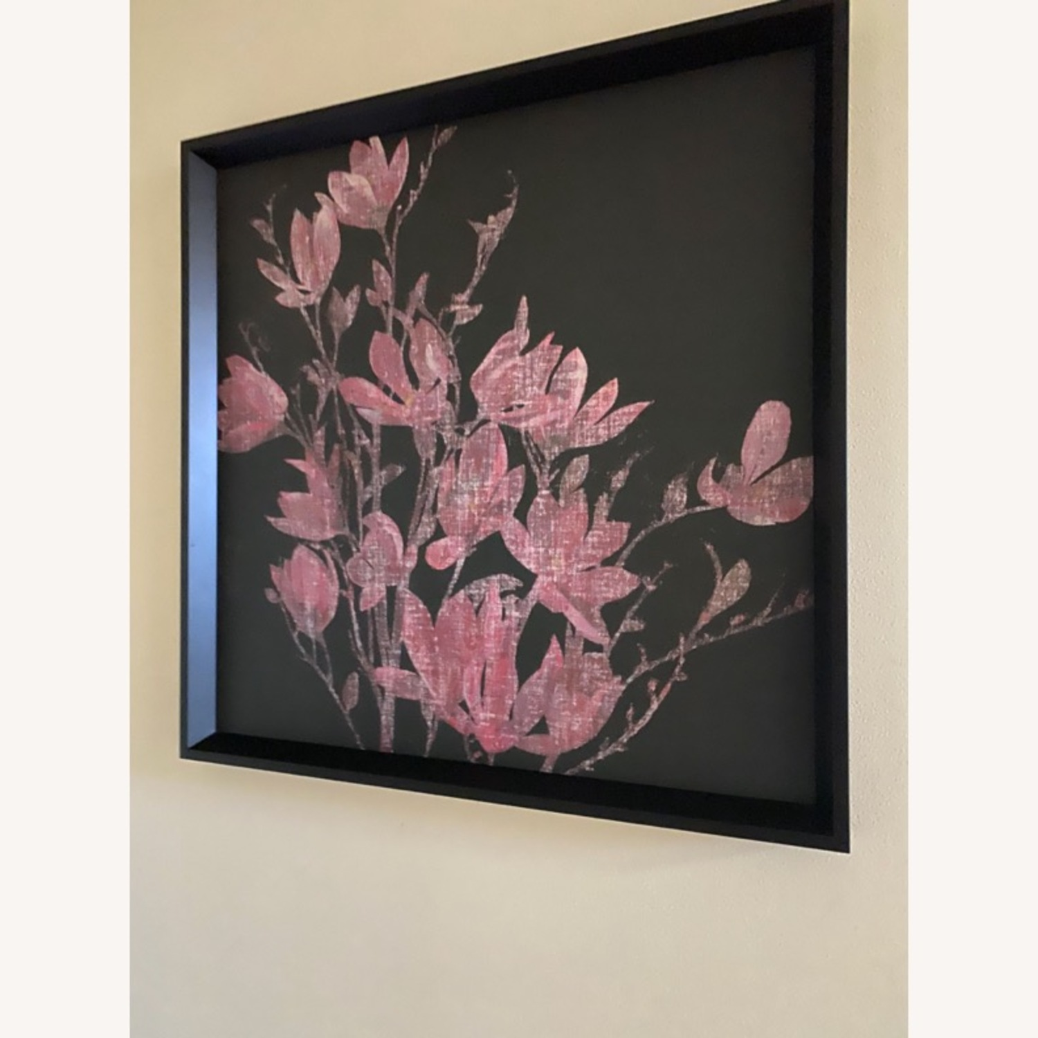Pink & Black Floral Canvas Wall Art - image-2