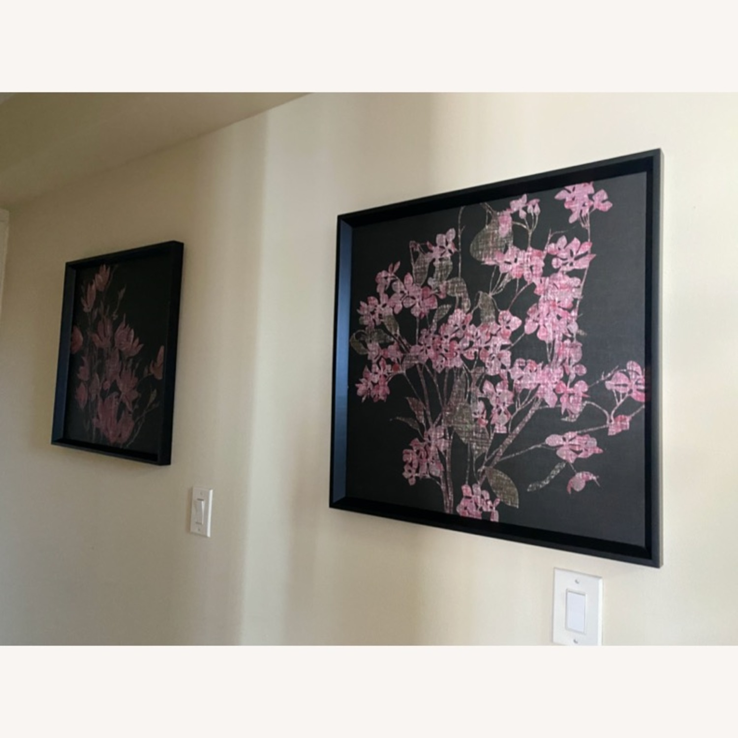 Pink & Black Floral Canvas Wall Art - image-0