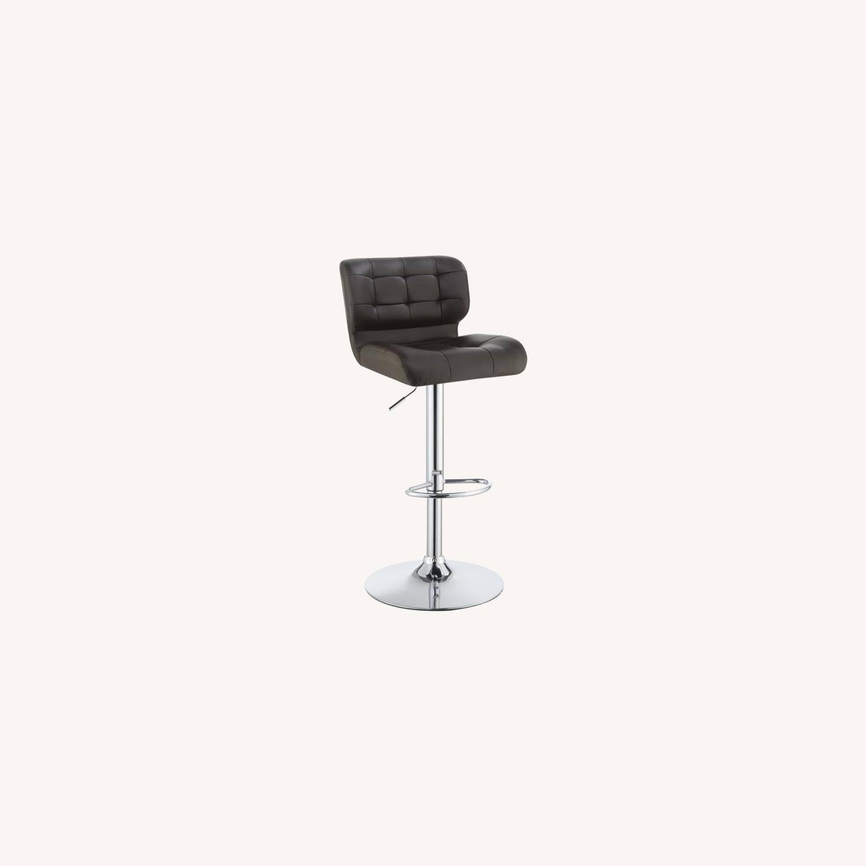Bar Stool In Brown Leatherette W/ Adjustable Base - image-5