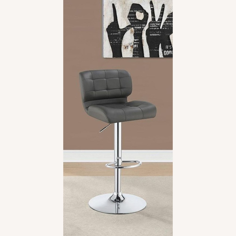 Bar Stool In Brown Leatherette W/ Adjustable Base - image-4