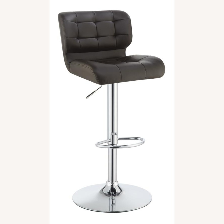 Bar Stool In Brown Leatherette W/ Adjustable Base - image-0