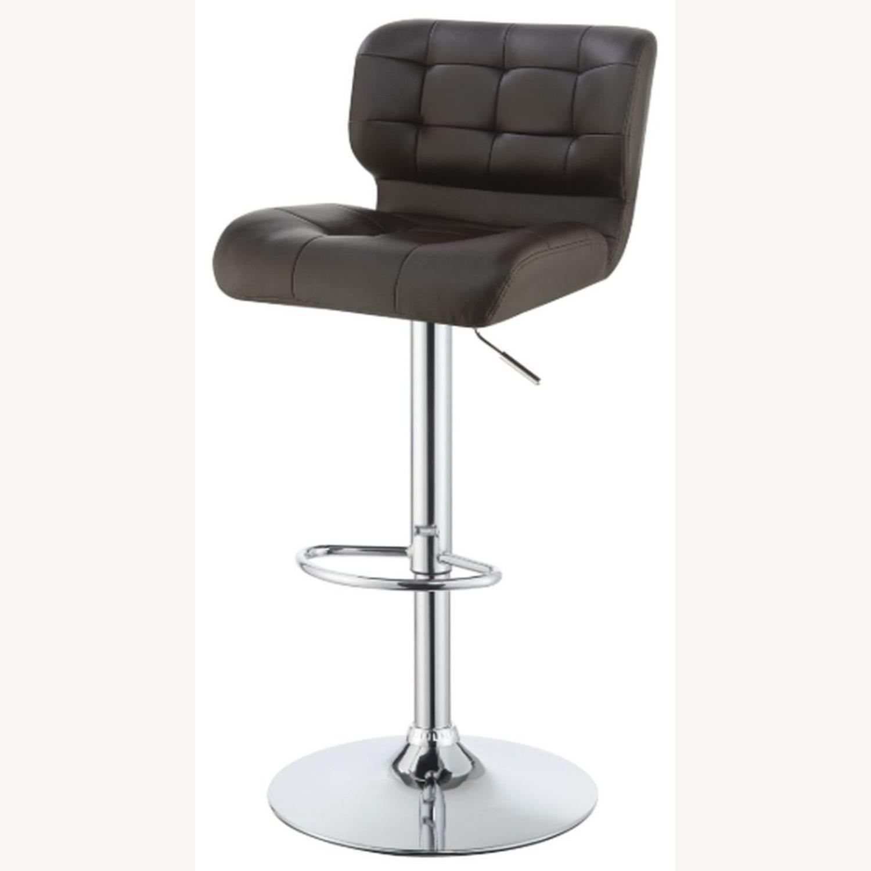 Bar Stool In Brown Leatherette W/ Adjustable Base - image-1