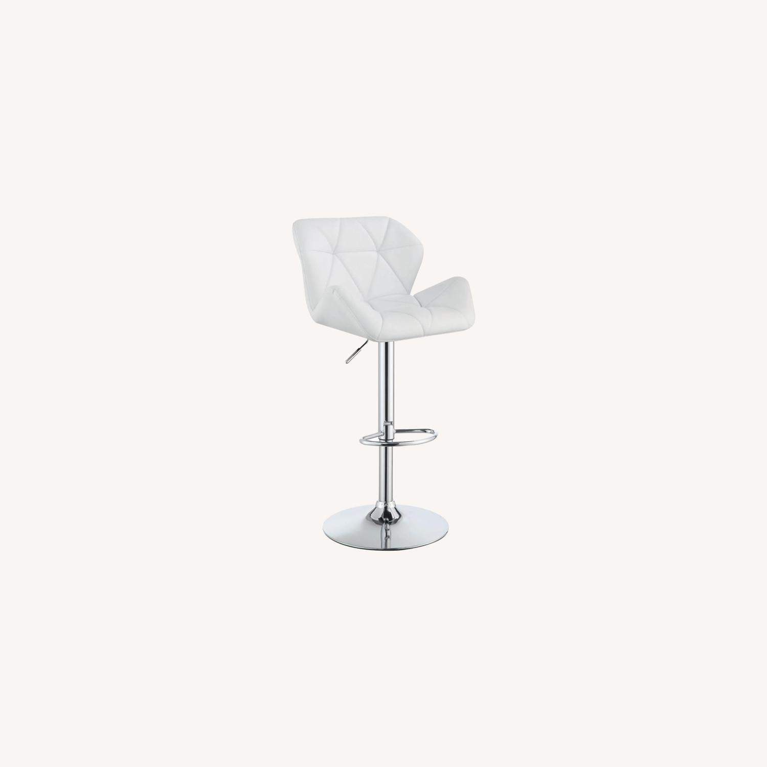 Adjustable Bar Stool In Tufted White Leatherette - image-4