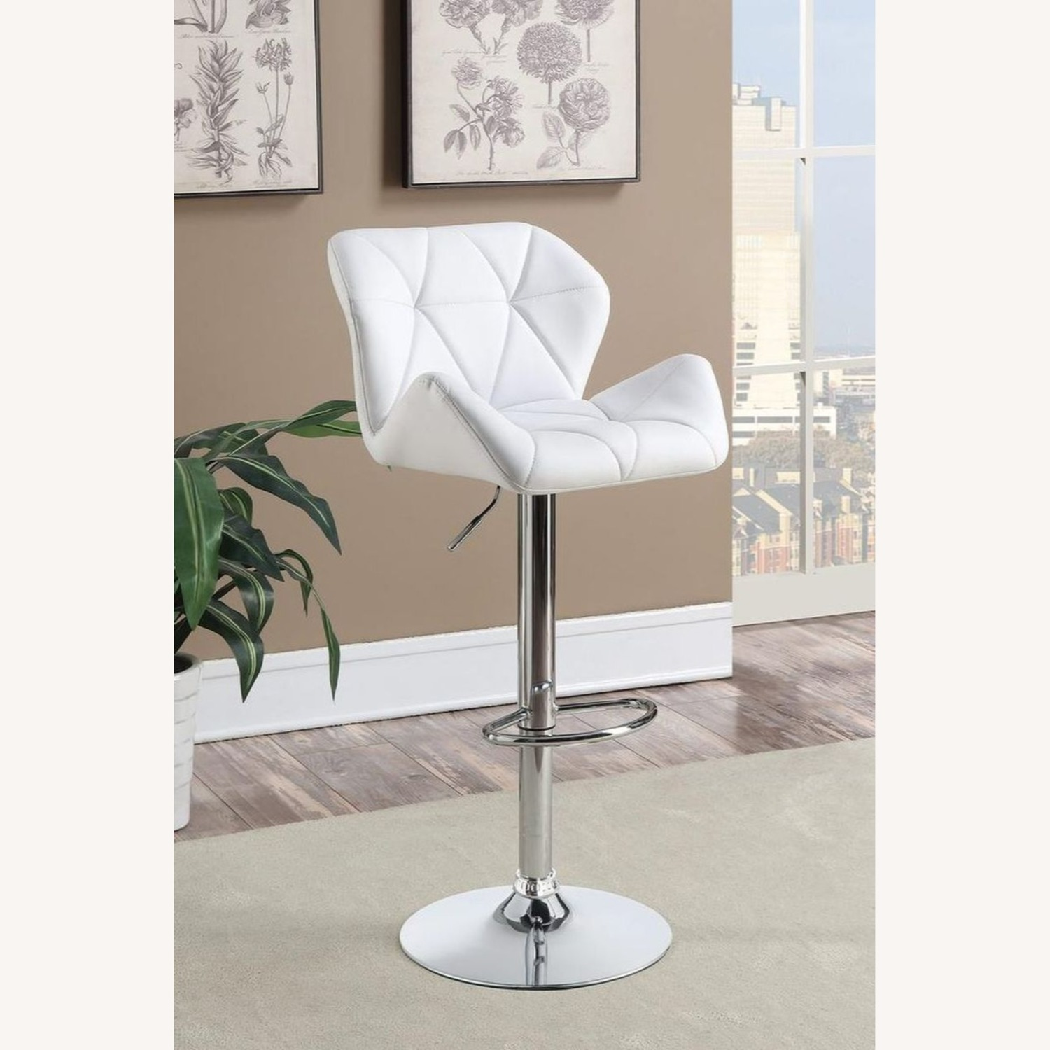Adjustable Bar Stool In Tufted White Leatherette - image-3