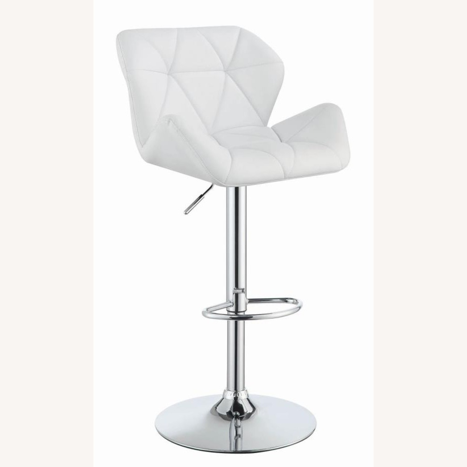 Adjustable Bar Stool In Tufted White Leatherette - image-0