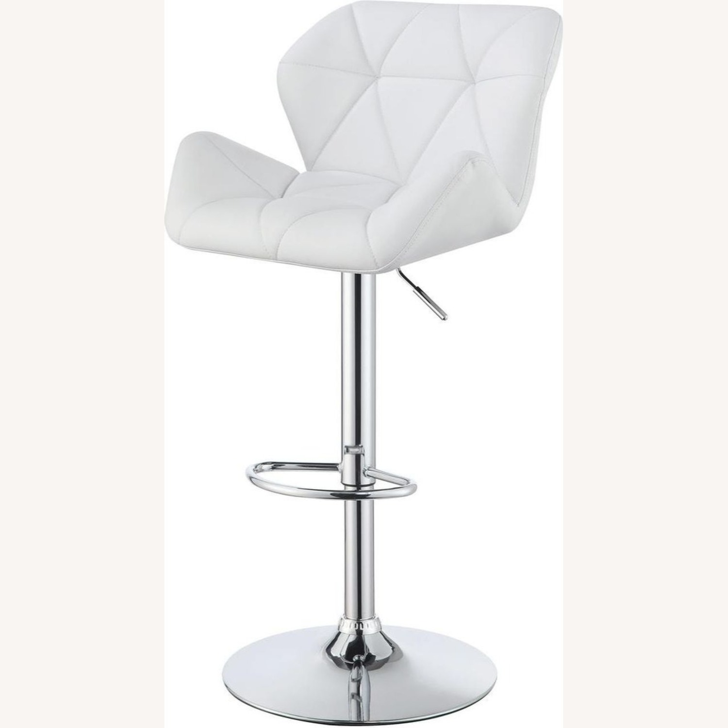 Adjustable Bar Stool In Tufted White Leatherette - image-1