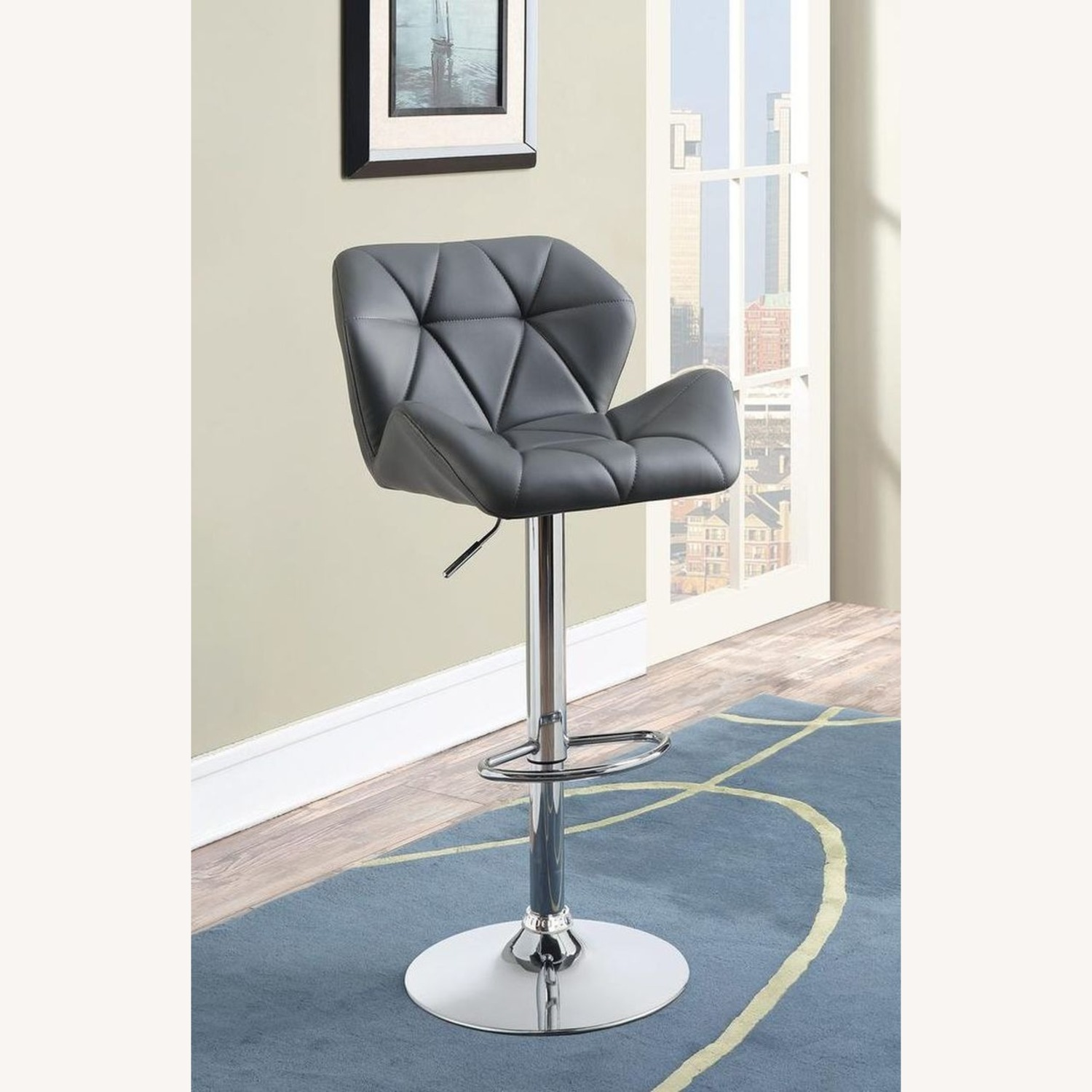 Adjustable In Grey Leather W/ Chrome Base - image-3