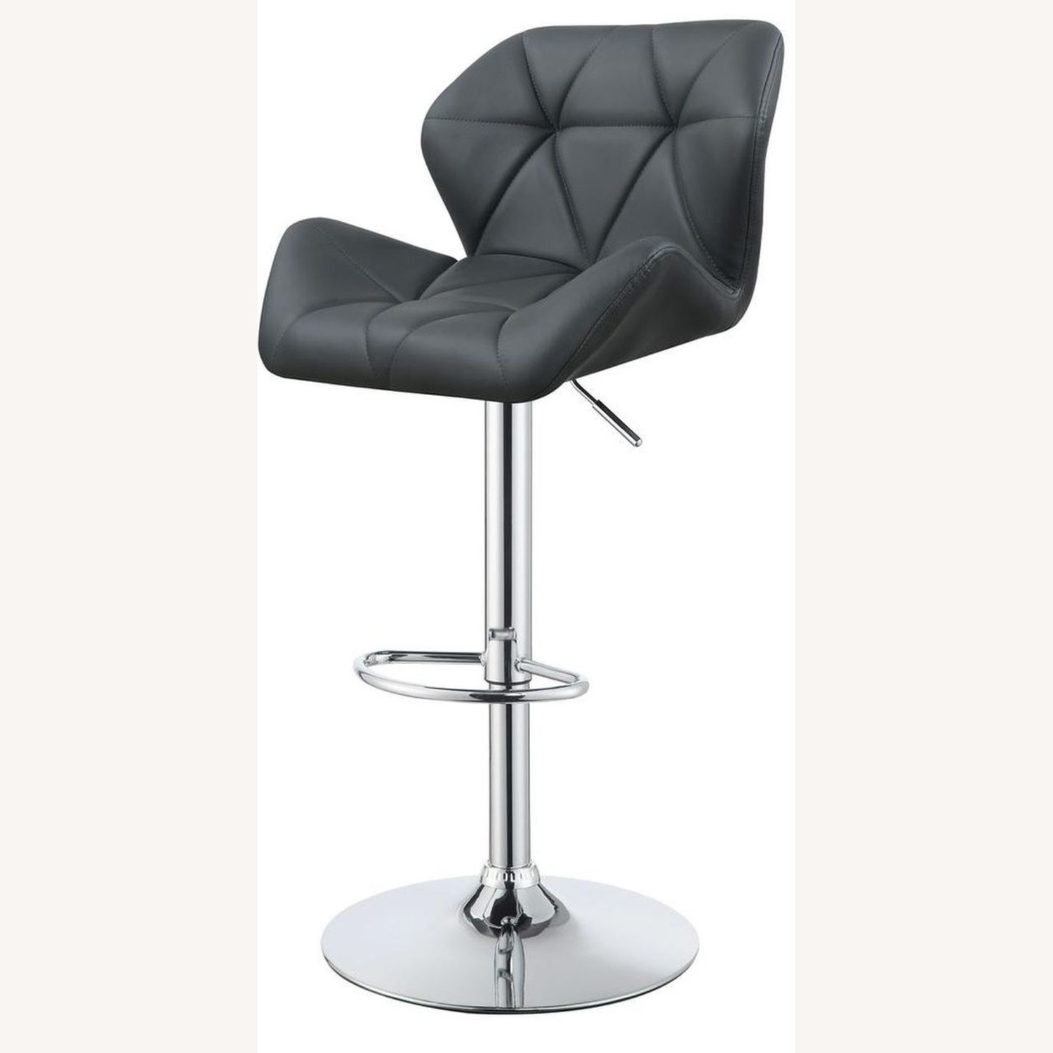 Adjustable In Grey Leather W/ Chrome Base - image-1