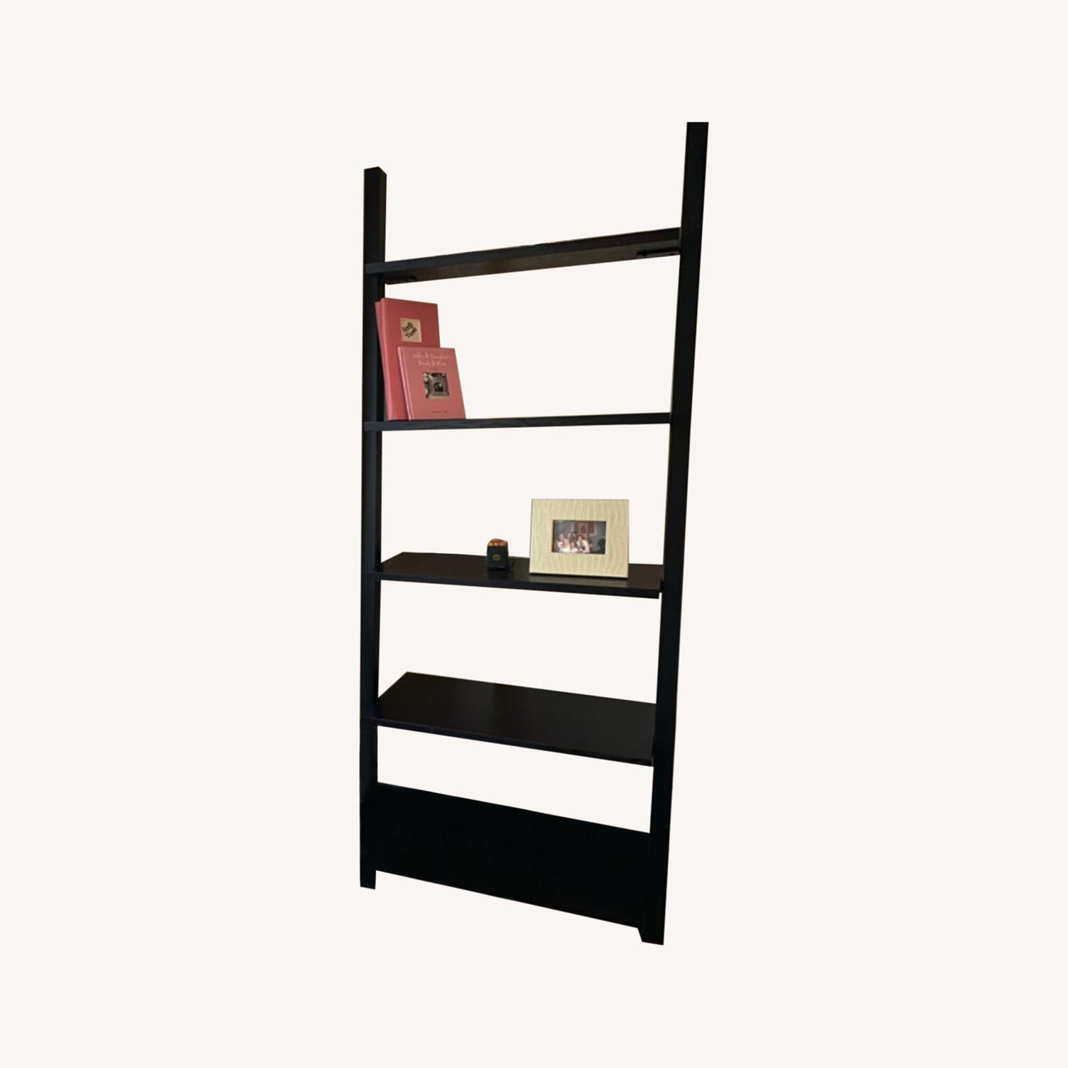 Black Crate & Barrel Leaning Bookcase - image-4