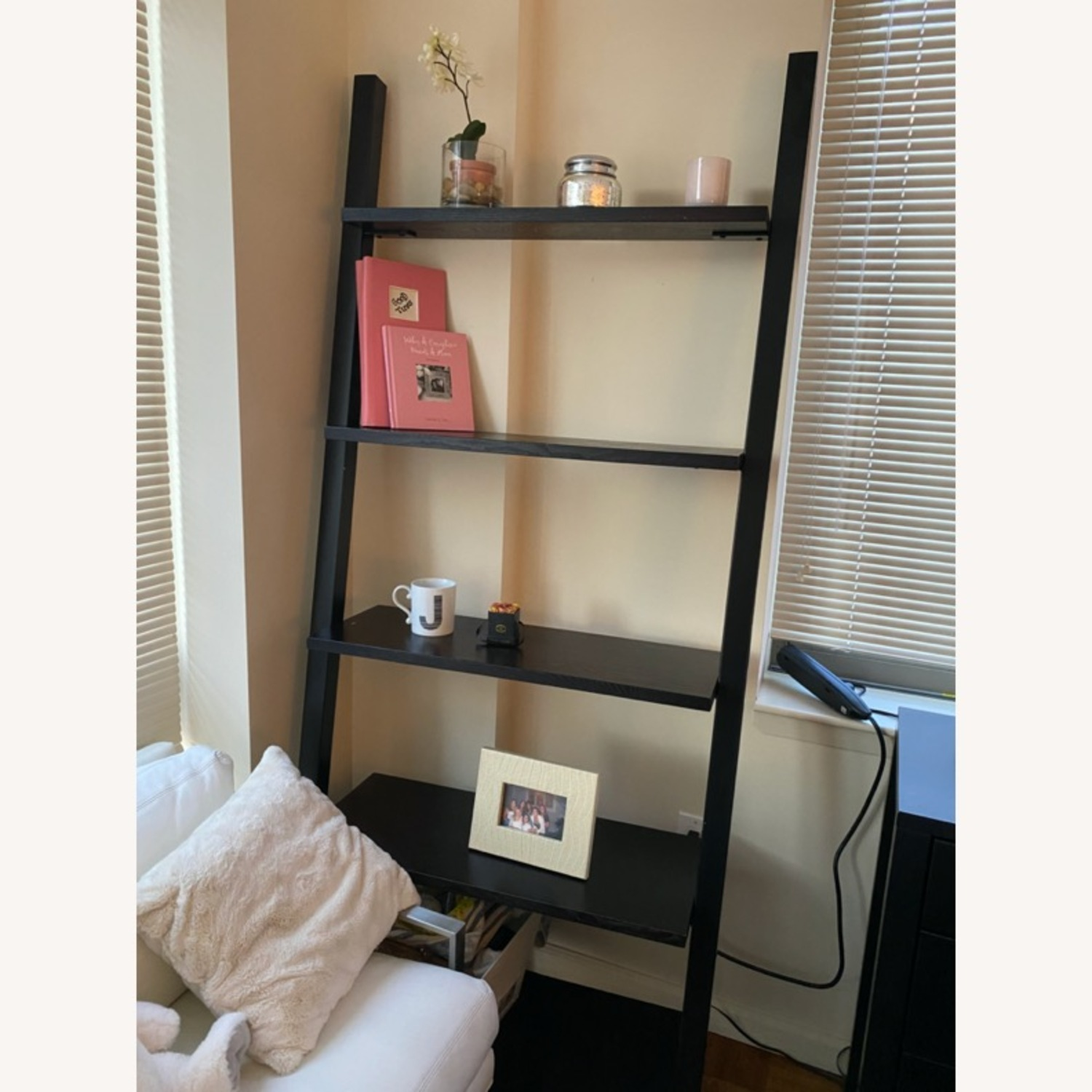 Black Crate & Barrel Leaning Bookcase - image-1