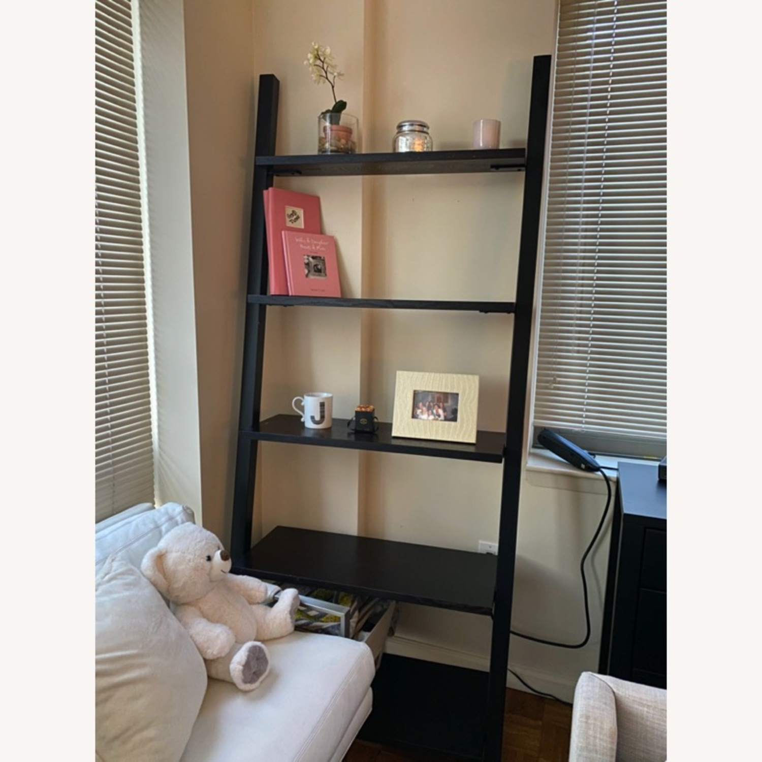 Black Crate & Barrel Leaning Bookcase - image-3