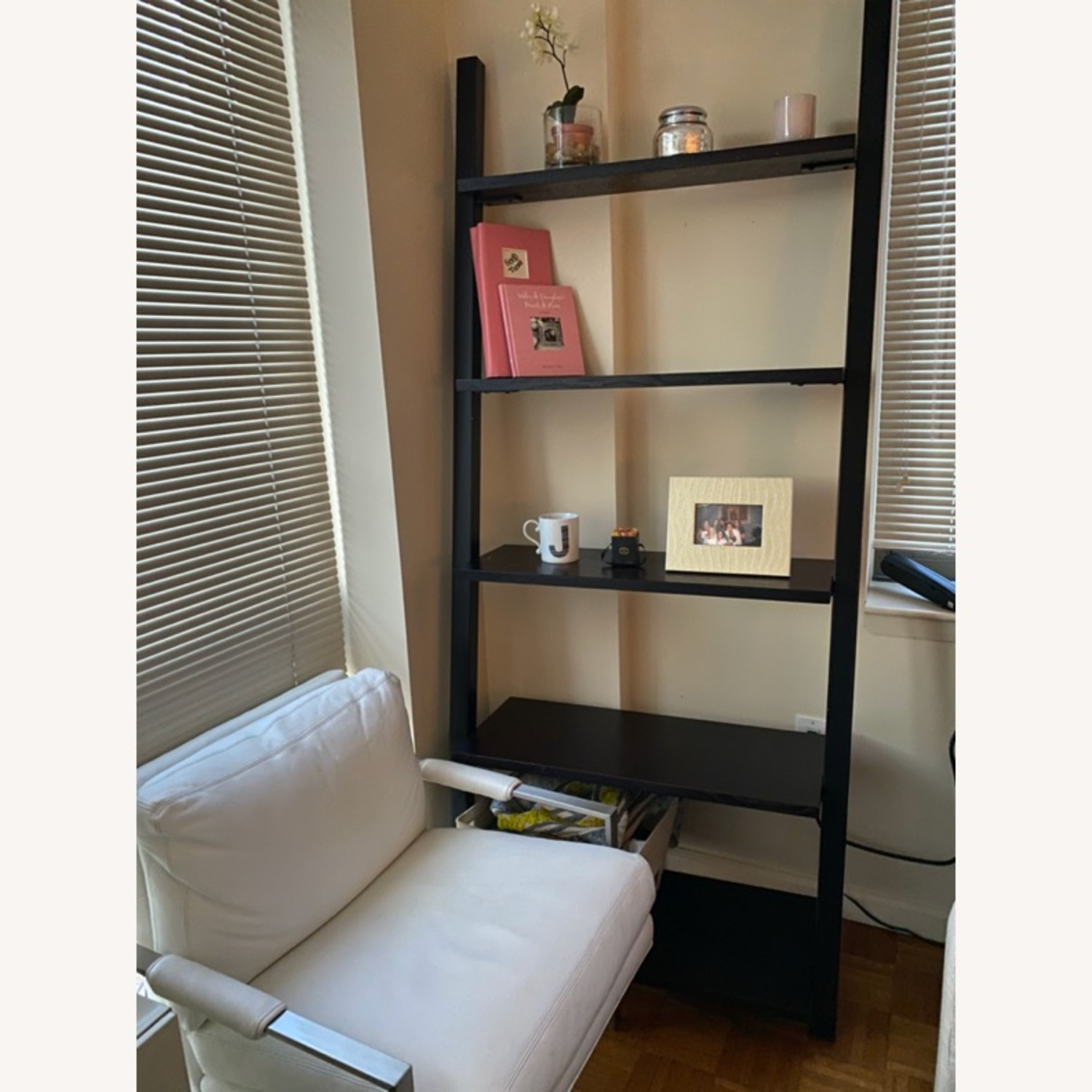 Black Crate & Barrel Leaning Bookcase - image-0