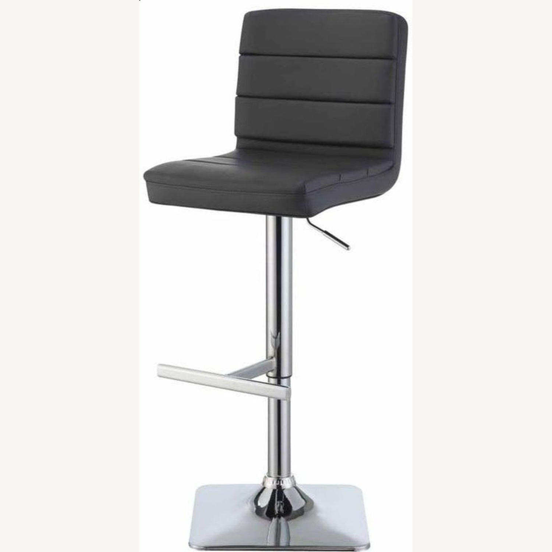 Modern Adjustable Bar Stool In Grey Leatherette - image-1