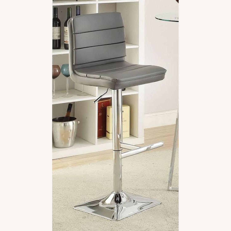 Modern Adjustable Bar Stool In Grey Leatherette - image-3