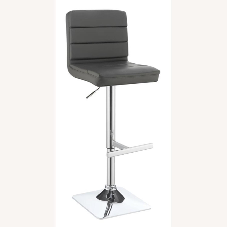 Modern Adjustable Bar Stool In Grey Leatherette - image-0