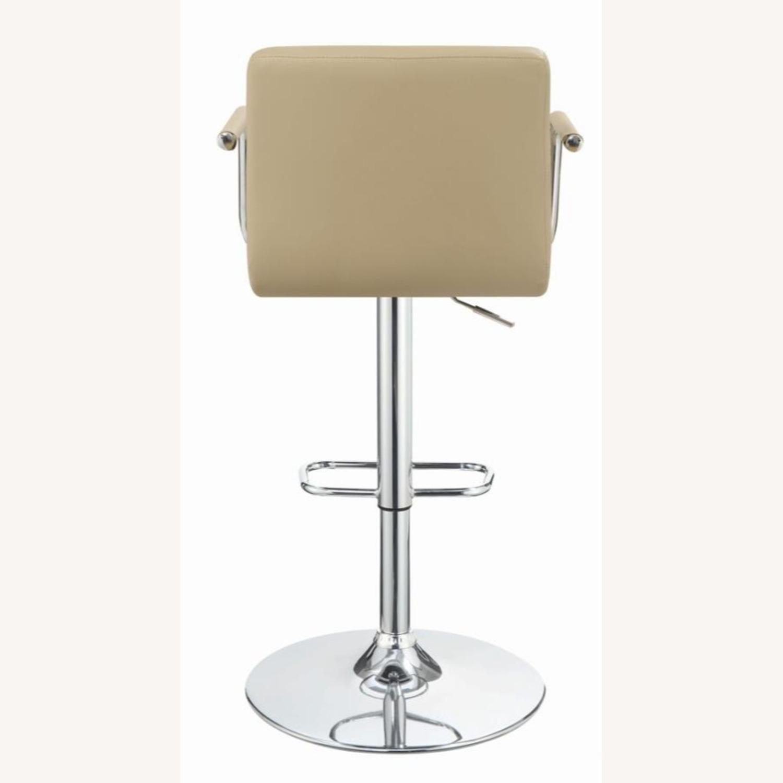 Bar Stool W/ Adjustable Base In Beige Leatherette - image-2