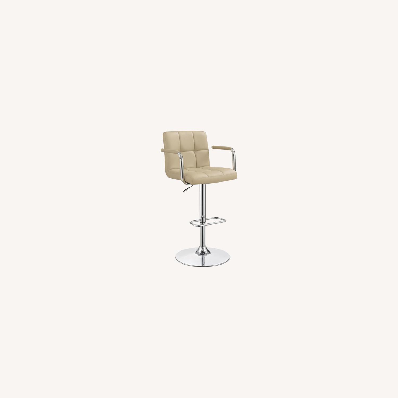 Bar Stool W/ Adjustable Base In Beige Leatherette - image-6