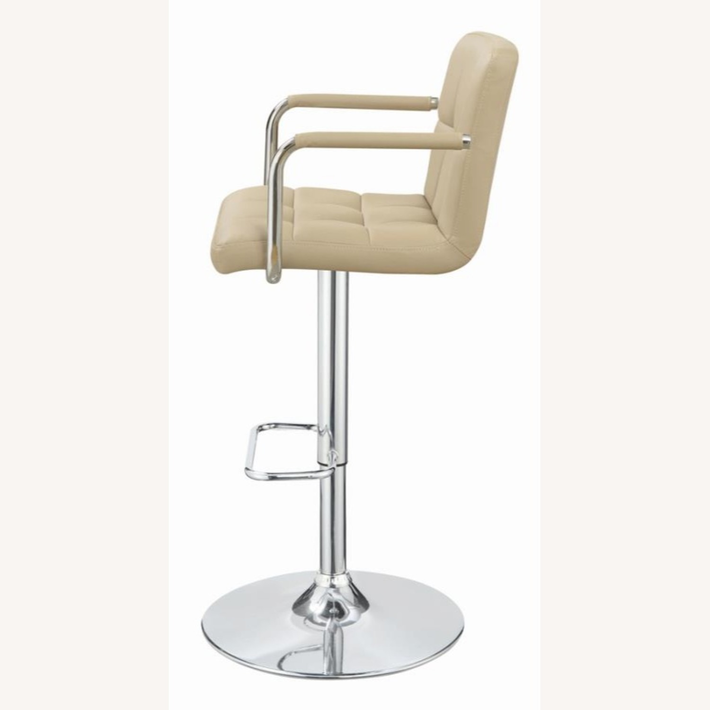 Bar Stool W/ Adjustable Base In Beige Leatherette - image-1