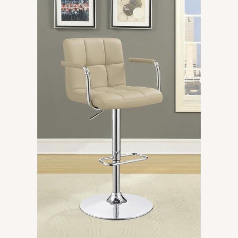 Bar Stool W/ Adjustable Base In Beige Leatherette - image-5