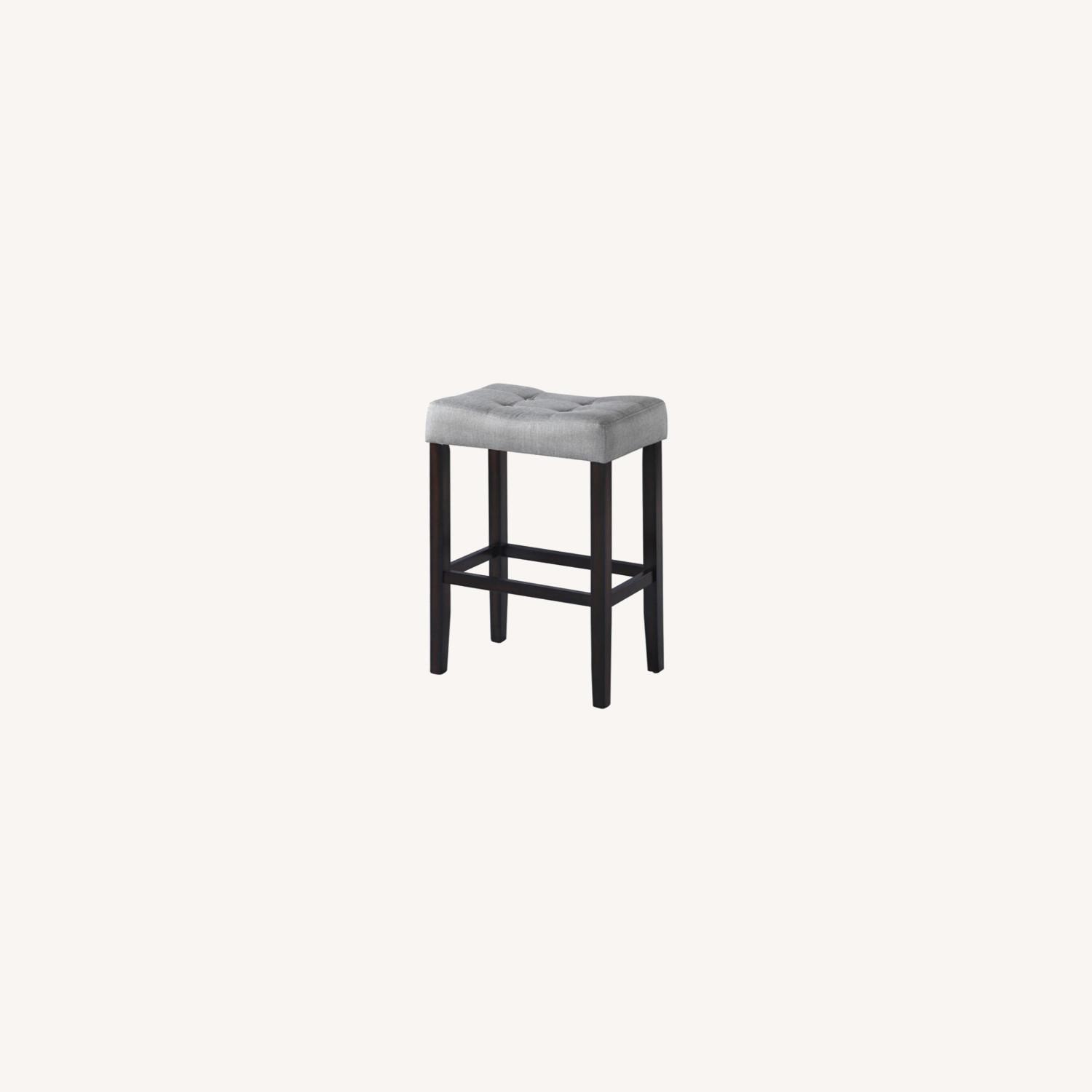 Bar Stool In Grey Fabric W/ Tufted Seating - image-4