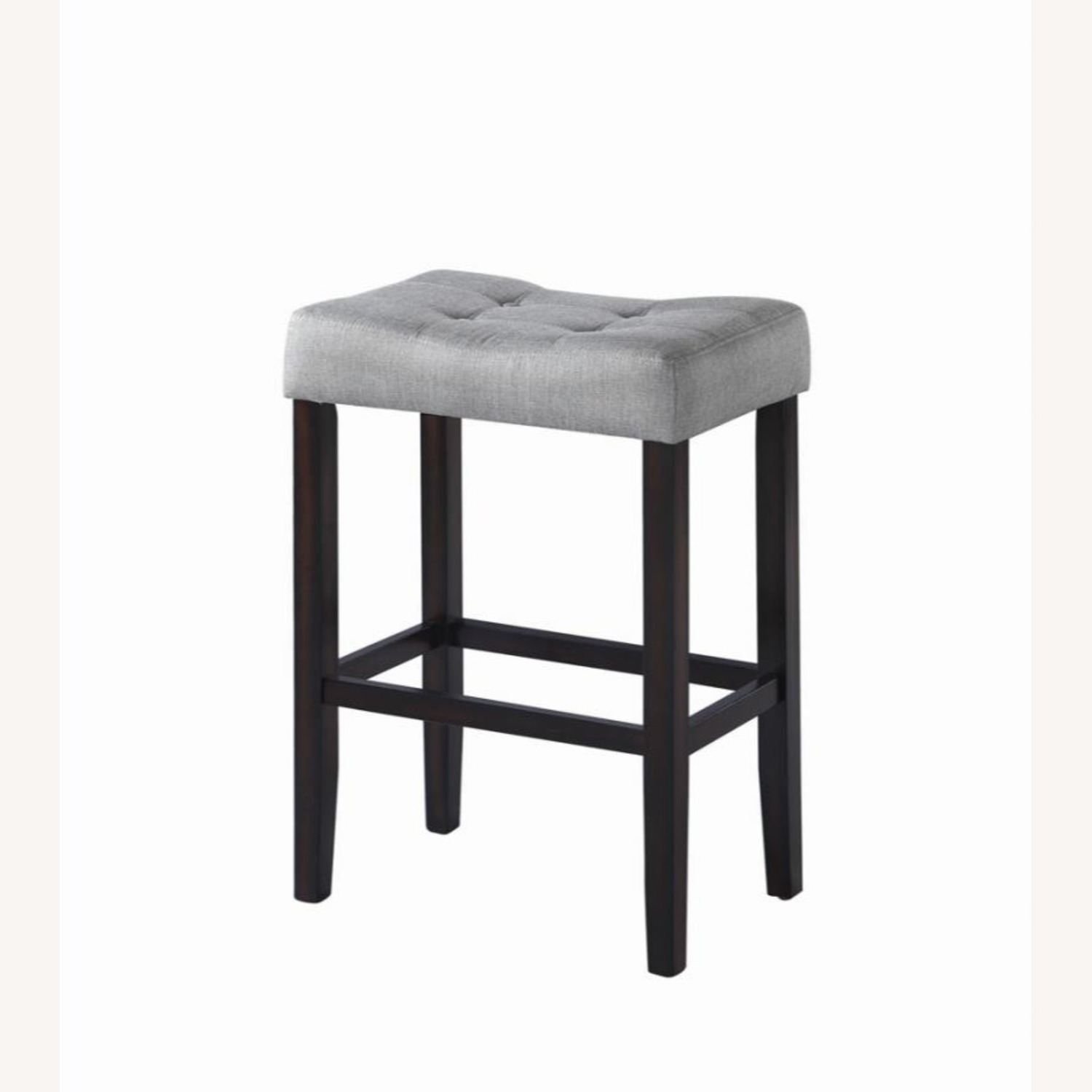 Bar Stool In Grey Fabric W/ Tufted Seating - image-0