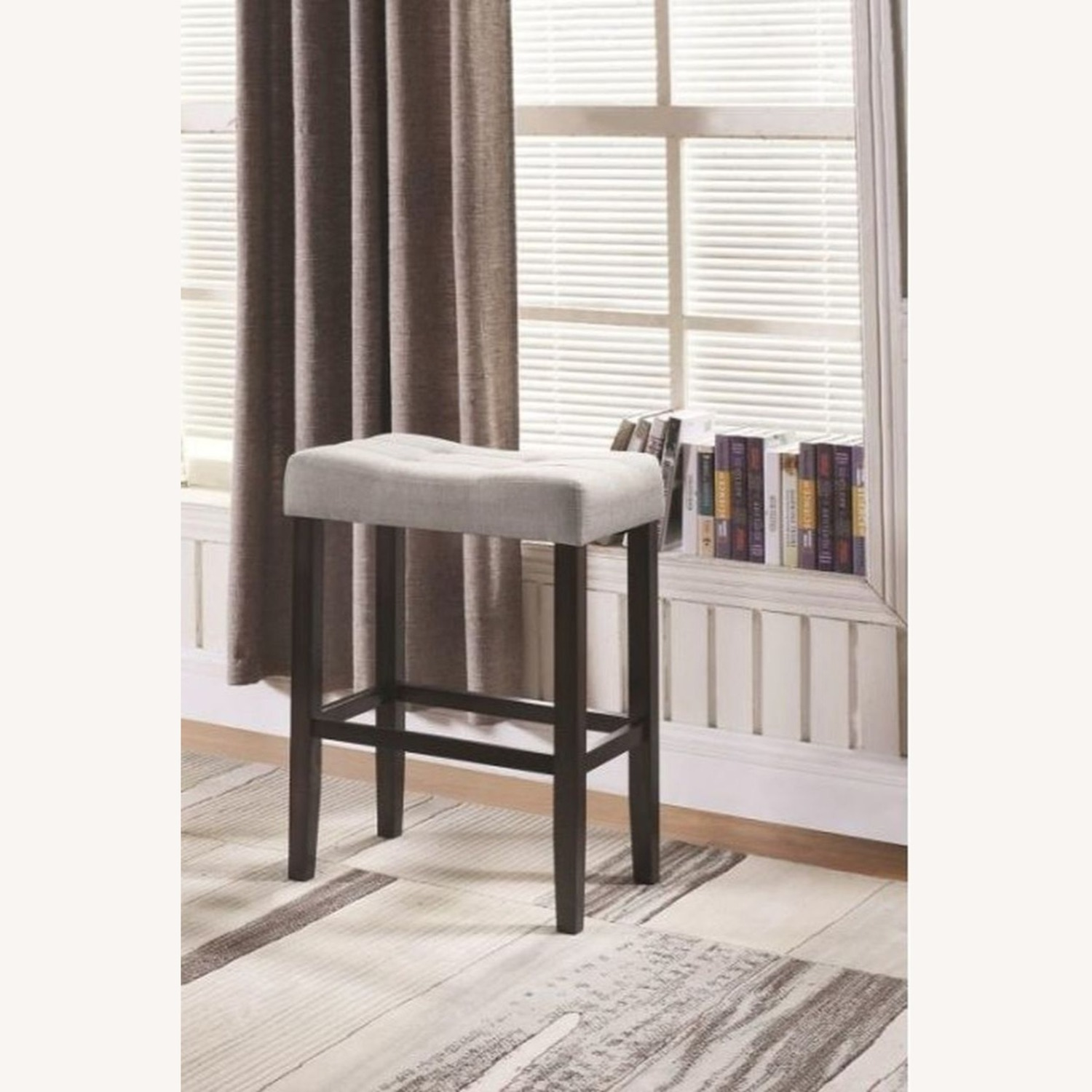 Bar Stool In Grey Fabric W/ Tufted Seating - image-3