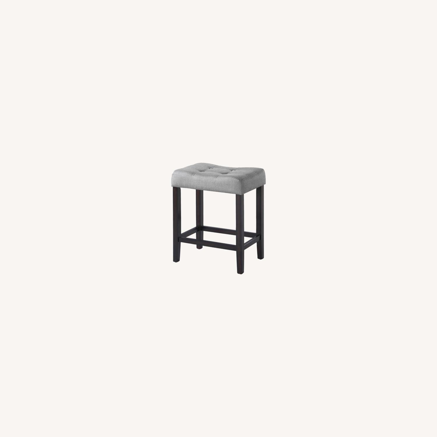 Counter Height Stool In Grey Fabric Tufted Seating - image-4