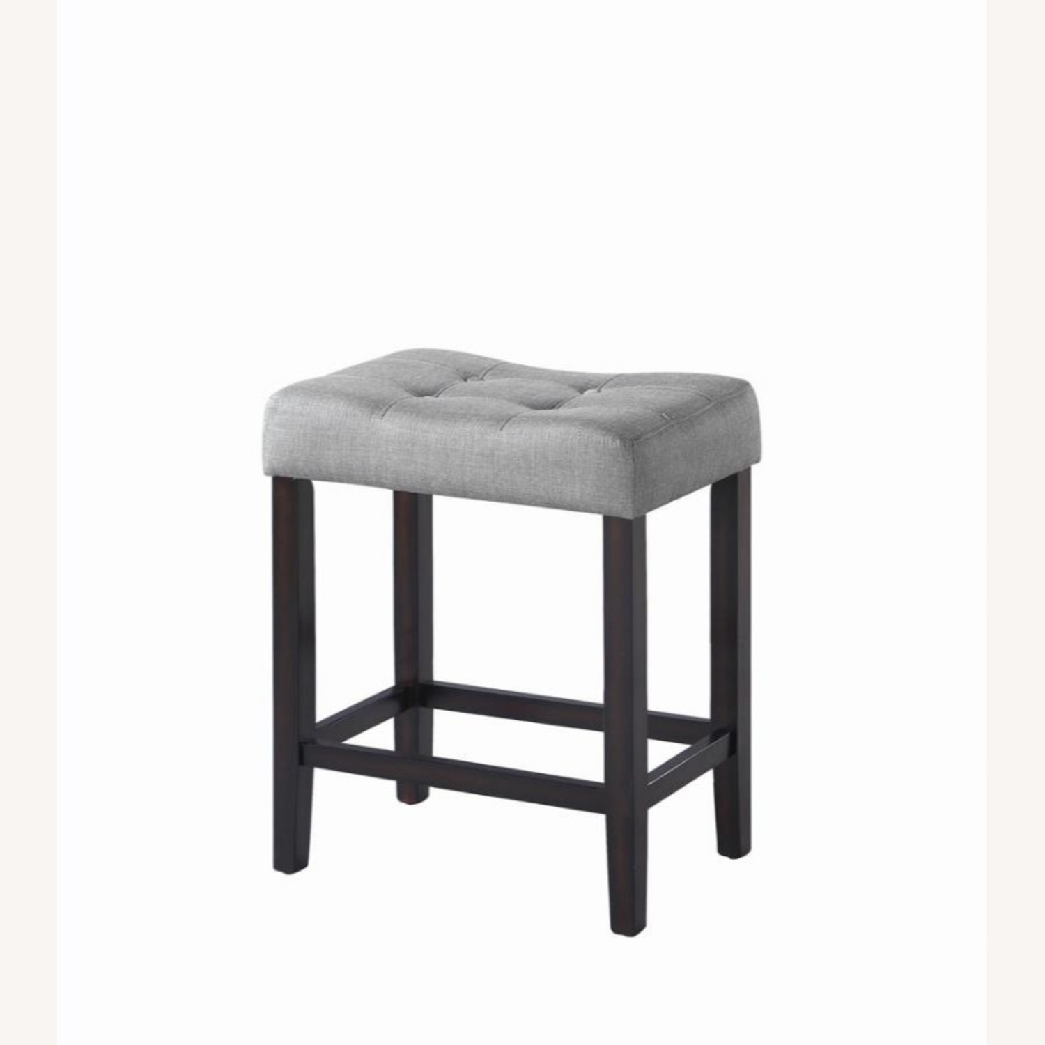 Counter Height Stool In Grey Fabric Tufted Seating - image-0