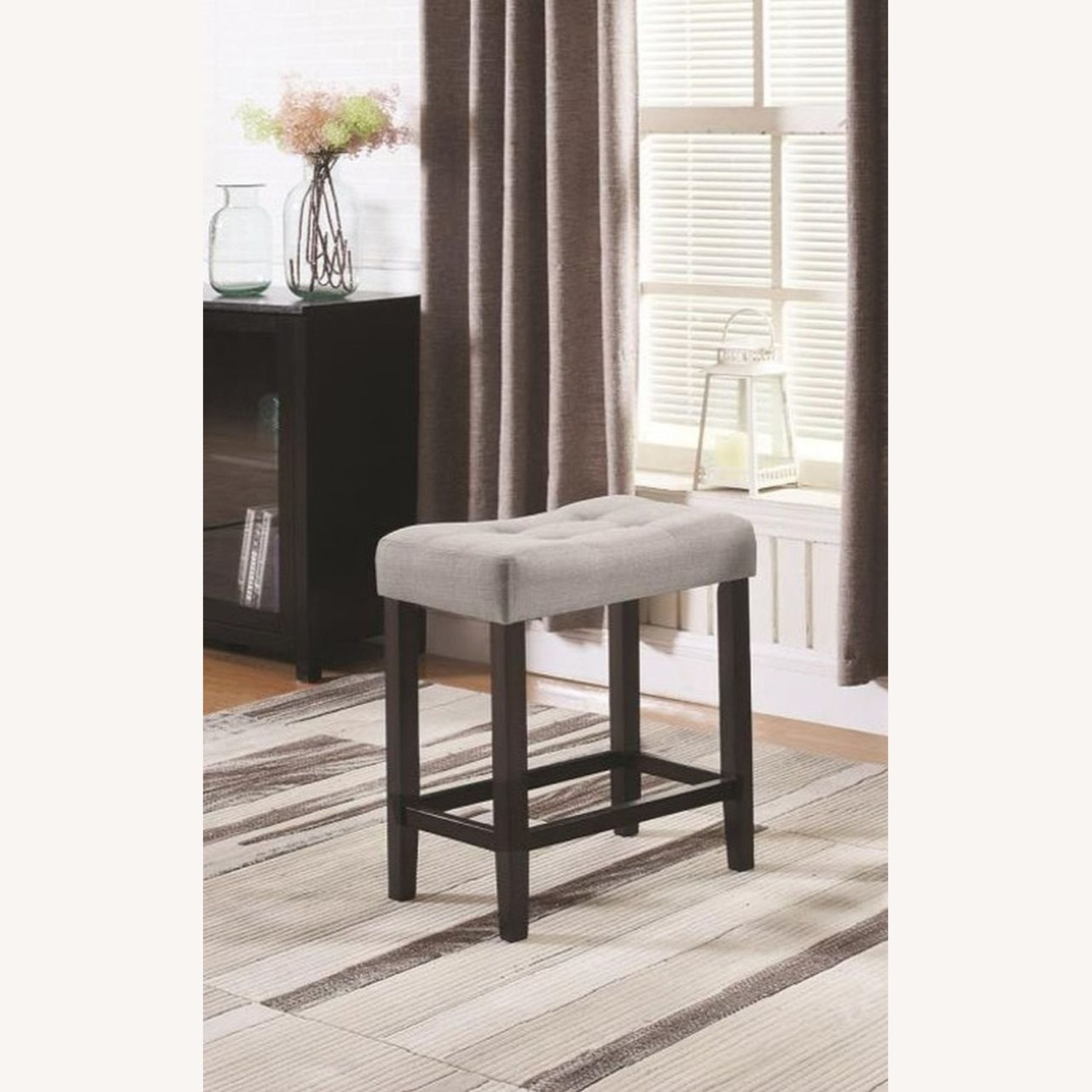 Counter Height Stool In Grey Fabric Tufted Seating - image-3