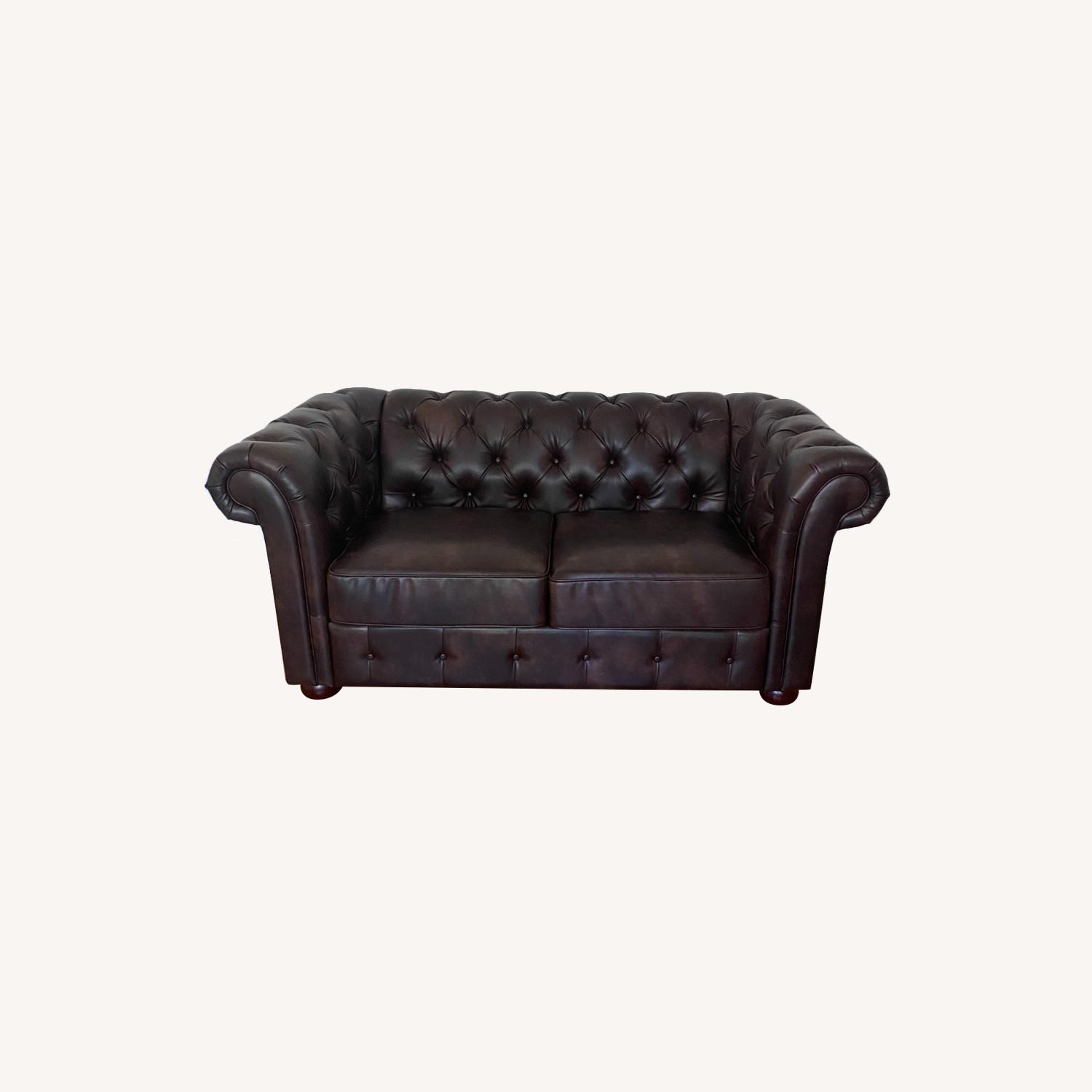 Wayfair Faux Leather Rolled Arm Loveseat - image-0