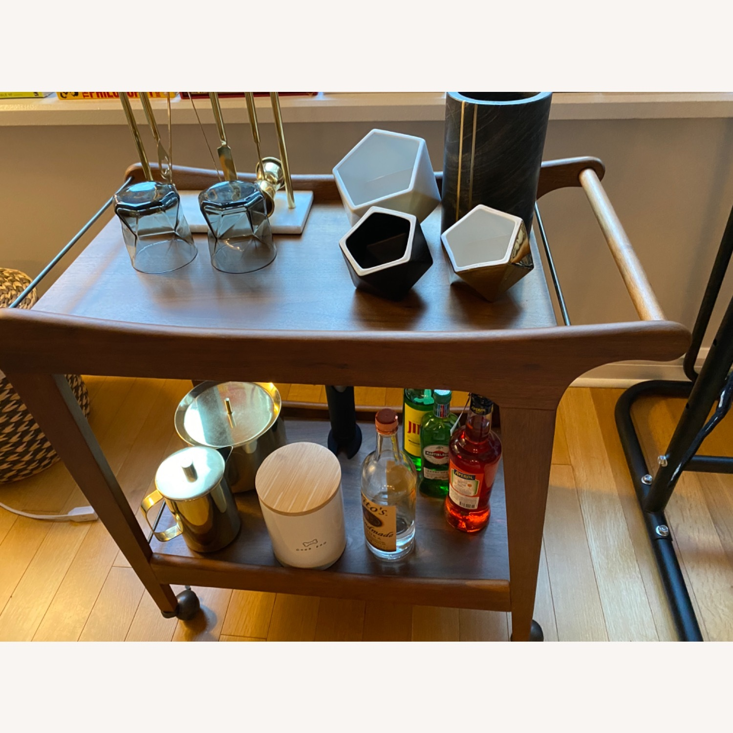 World Market Walnut Mid Century Bar Cart - image-3