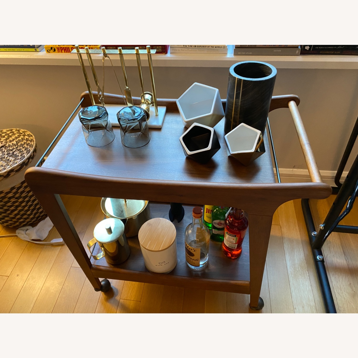 World Market Walnut Mid Century Bar Cart - image-0