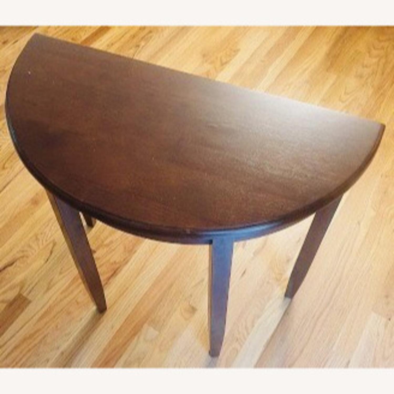 Oak Vintage Crescent Console Table - image-1