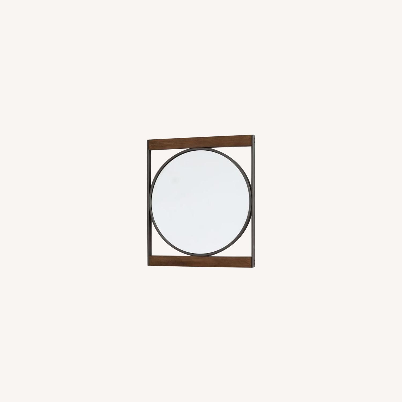West Elm Industrial Metal & Wood Round Wall Mirror - image-0