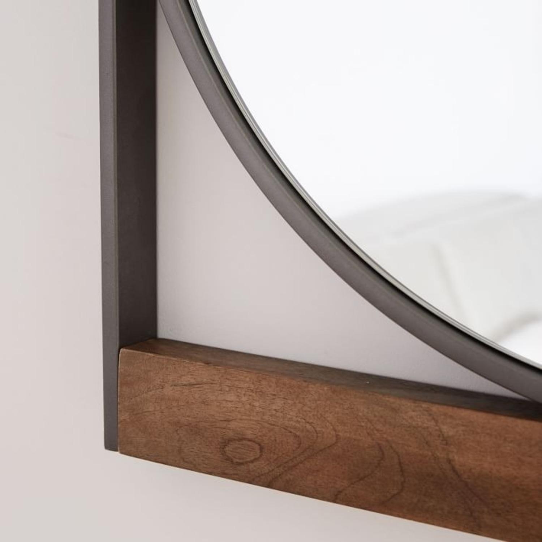West Elm Industrial Metal & Wood Round Wall Mirror - image-3