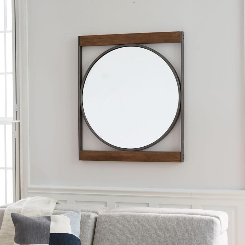 West Elm Industrial Metal & Wood Round Wall Mirror - image-1
