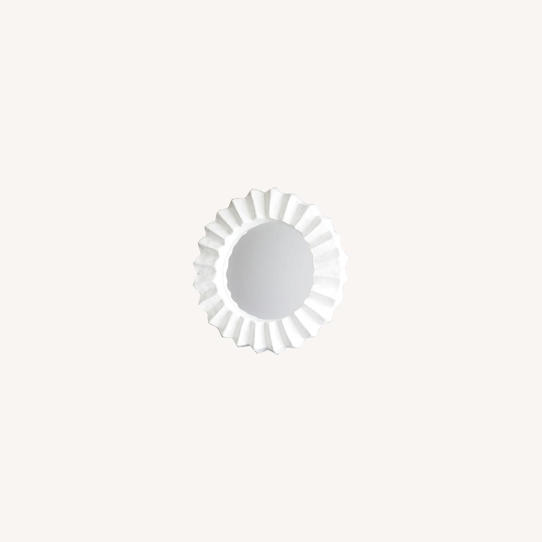 West Elm Papier Mache Round Mirror, White - image-0