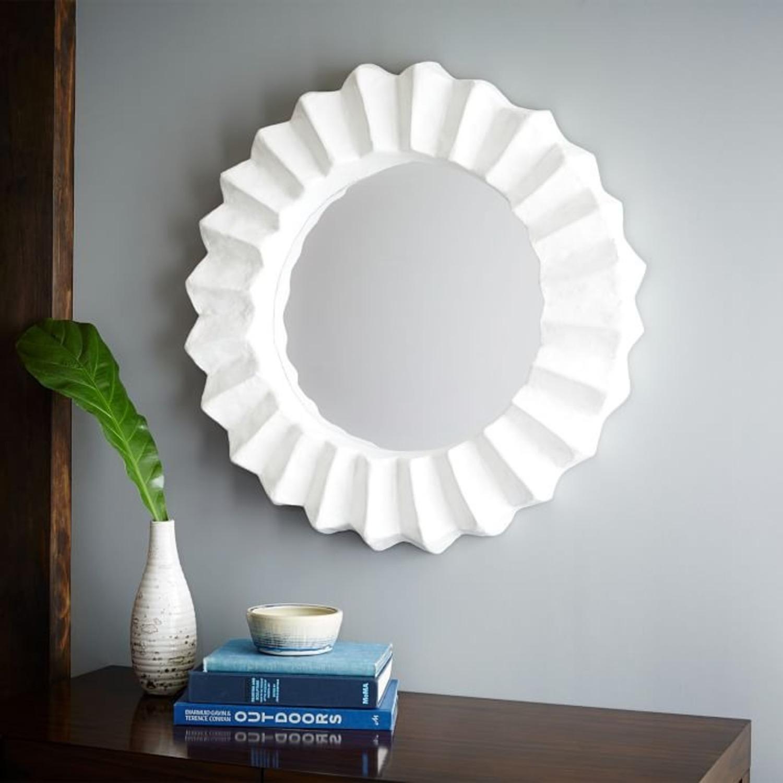 West Elm Papier Mache Round Mirror, White - image-1