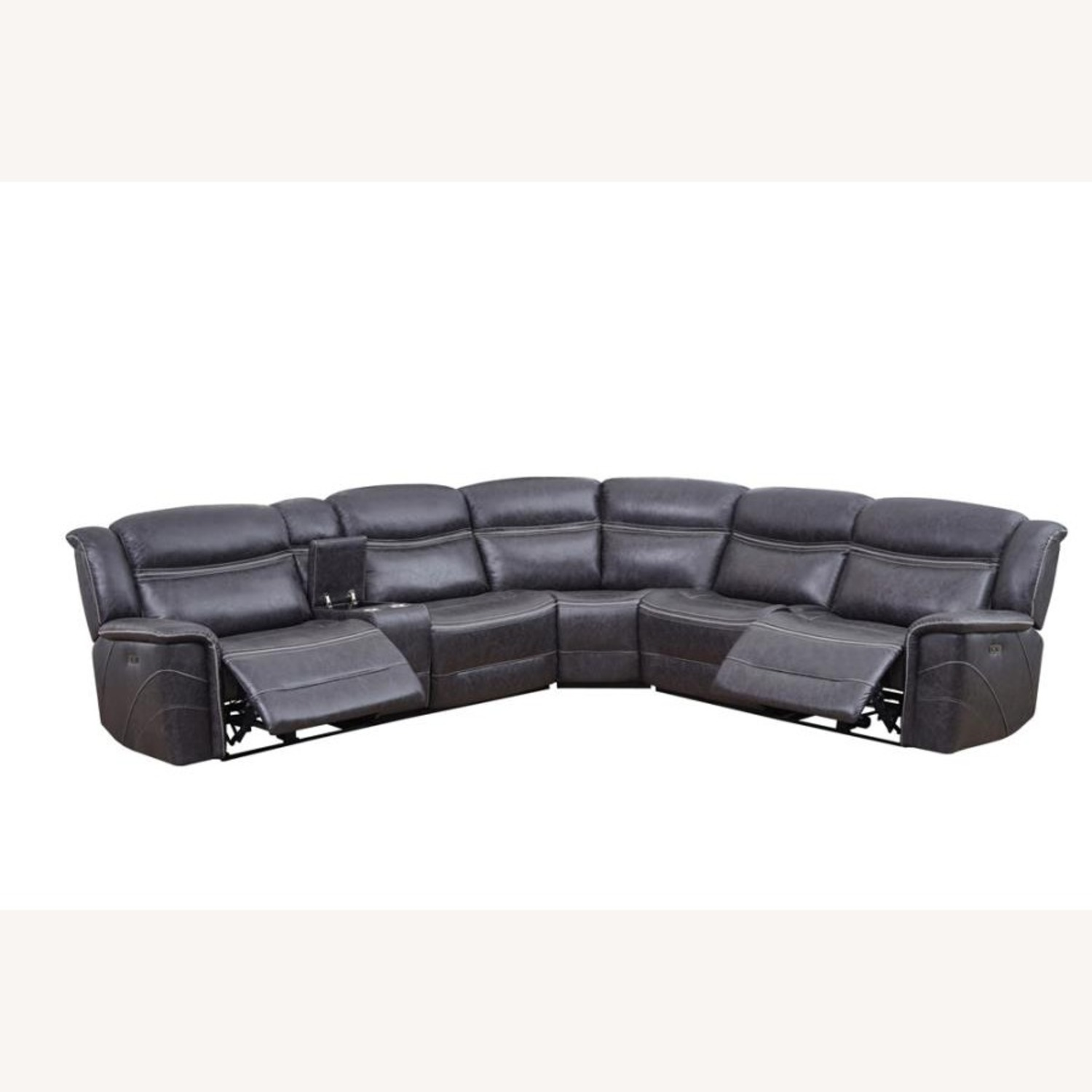 6-Piece Motion Sectional In Charcoal Faux Suede - image-1