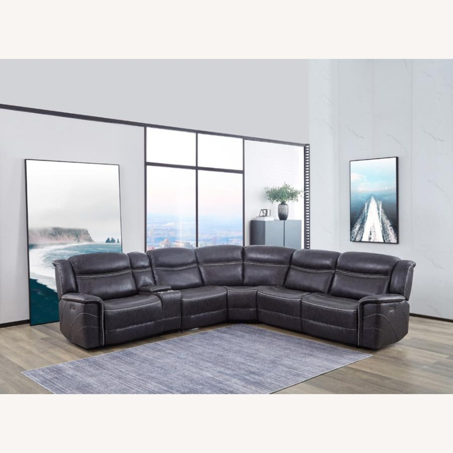 6-Piece Motion Sectional In Charcoal Faux Suede - image-6