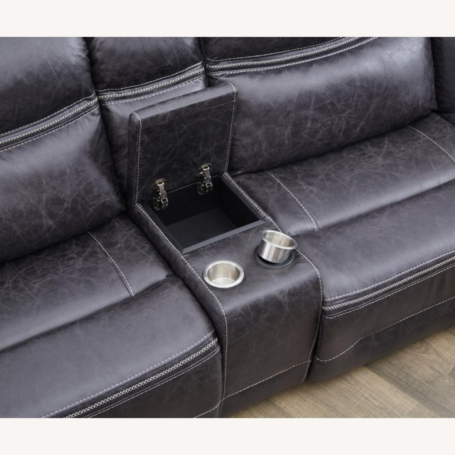 6-Piece Motion Sectional In Charcoal Faux Suede - image-3