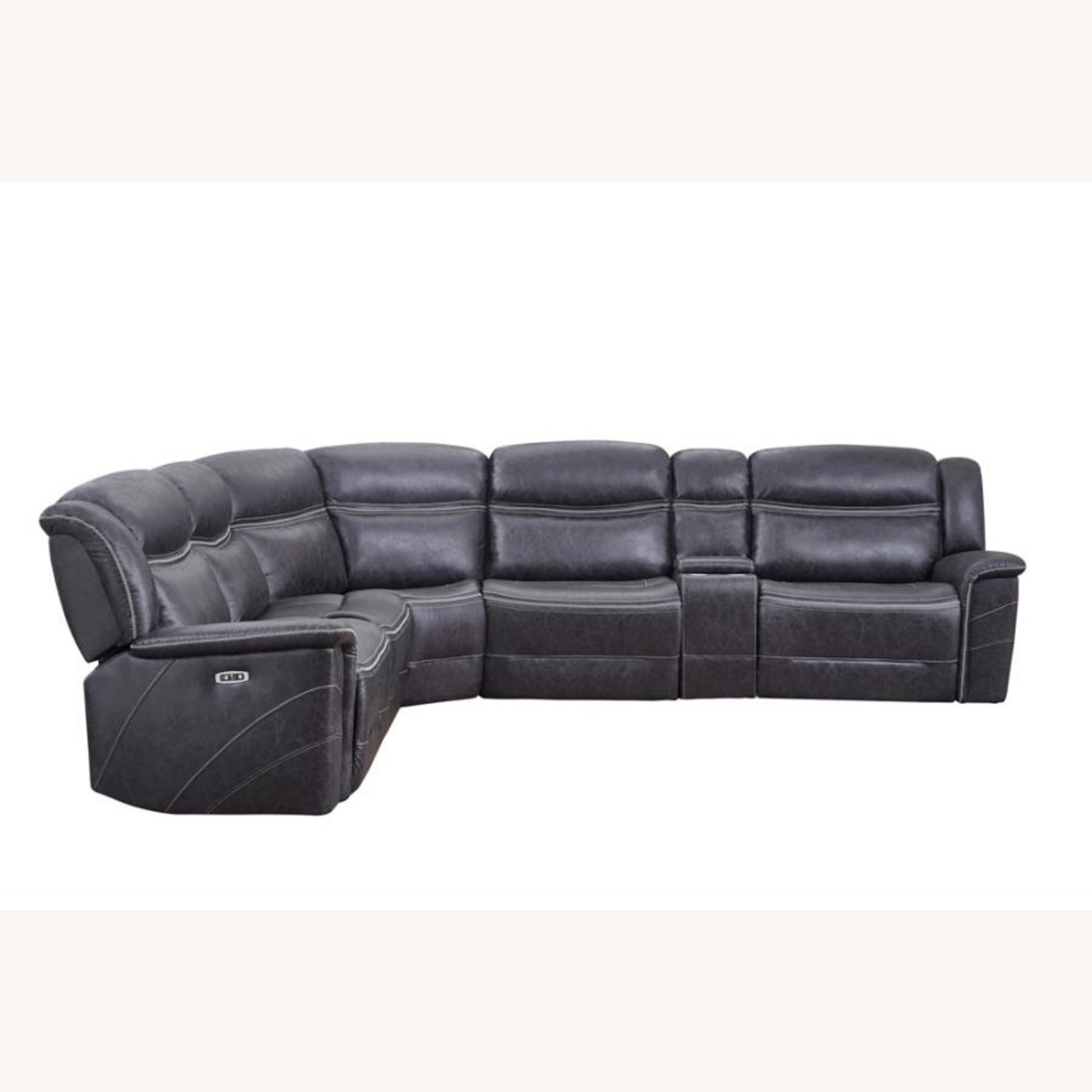 6-Piece Motion Sectional In Charcoal Faux Suede - image-0