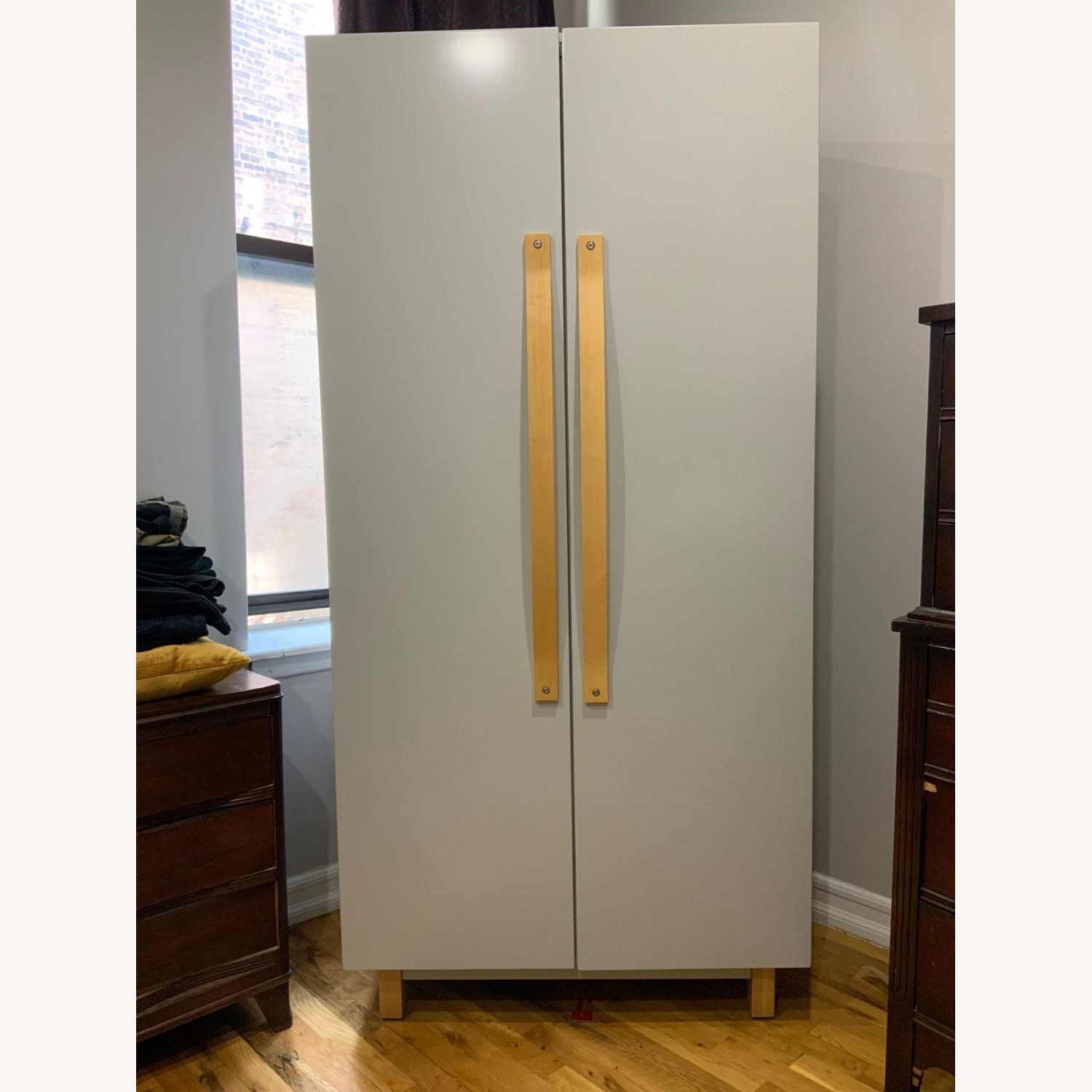 Crate & Barrel Light Grey Armoire - image-1