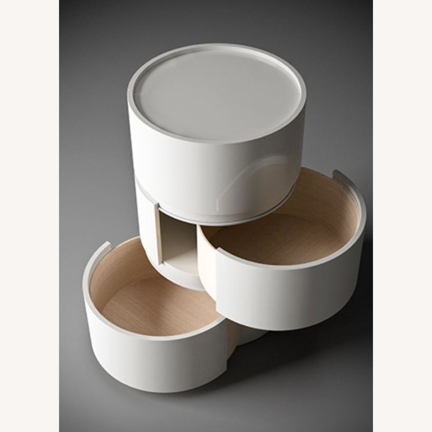Stack of 3 White Laquer Dedalo Nightstand - image-5