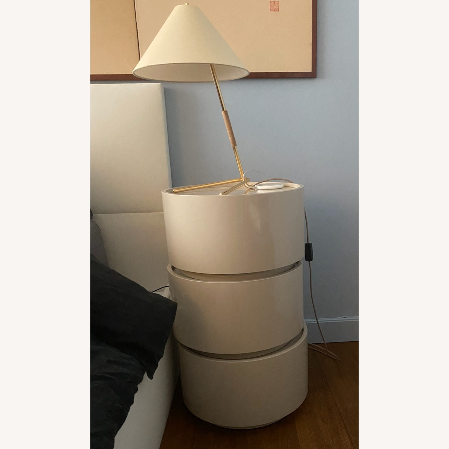 Stack of 3 White Laquer Dedalo Nightstand - image-2