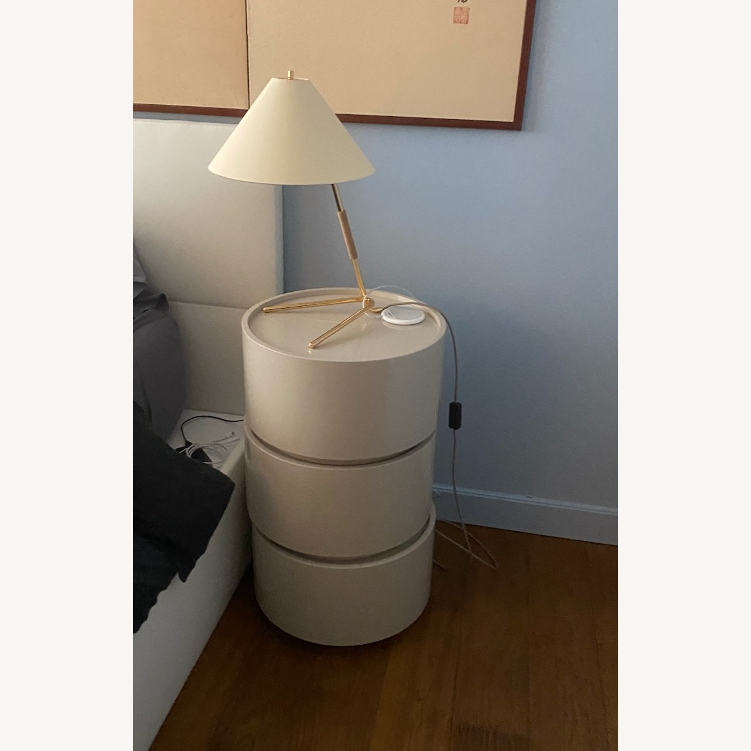 Stack of 3 White Laquer Dedalo Nightstand - image-4