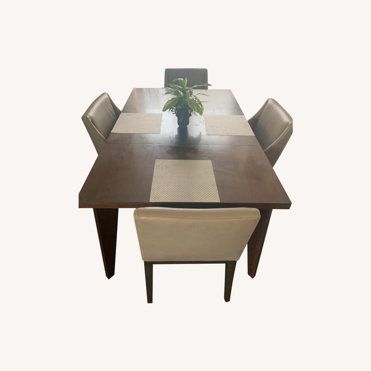 West Elm Dining Table + 4 Leather Chairs - image-0