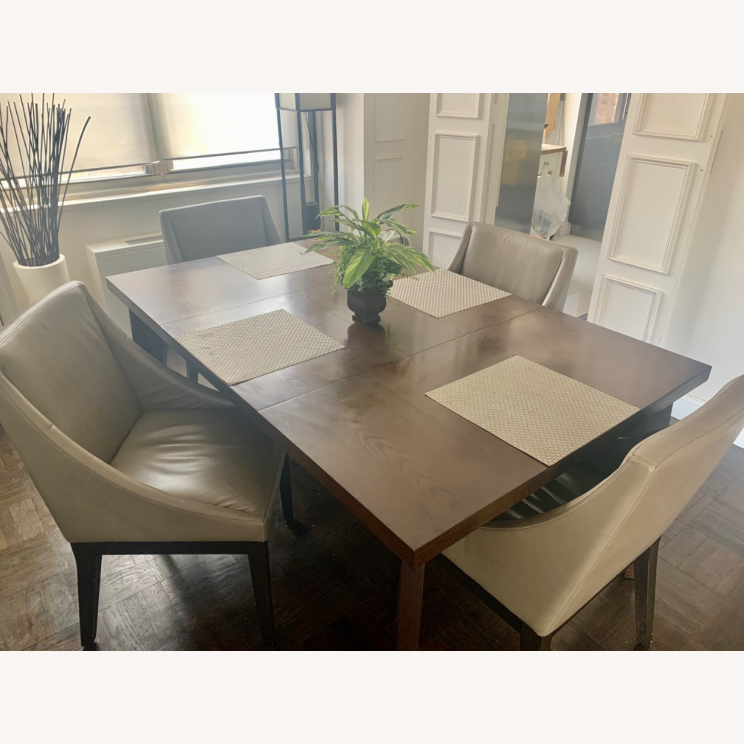 West Elm Dining Table + 4 Leather Chairs - image-5