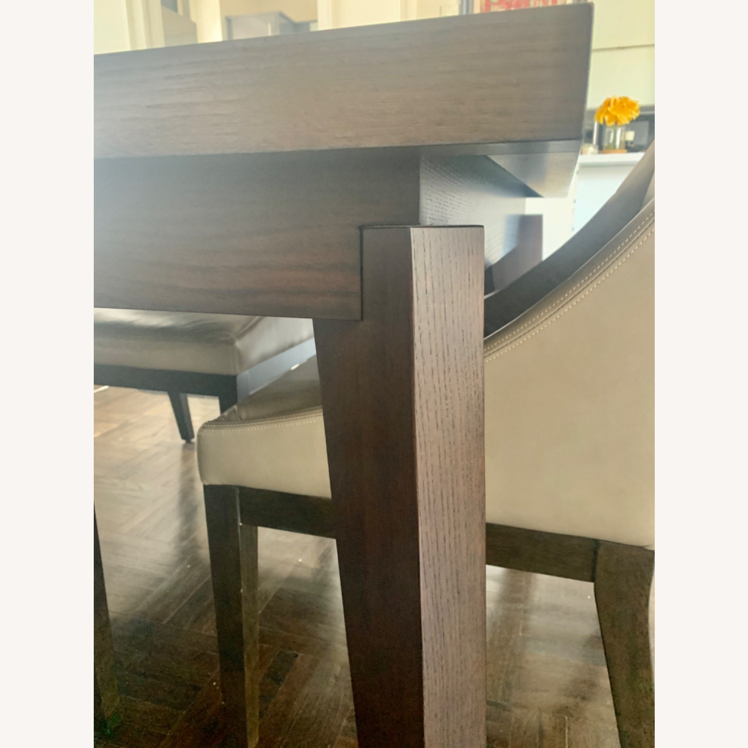 West Elm Dining Table + 4 Leather Chairs - image-3